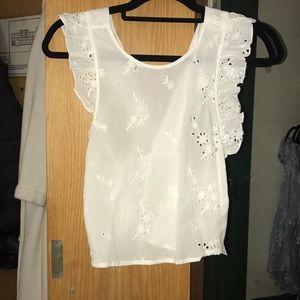 White flower linen sleeveless top from Zara